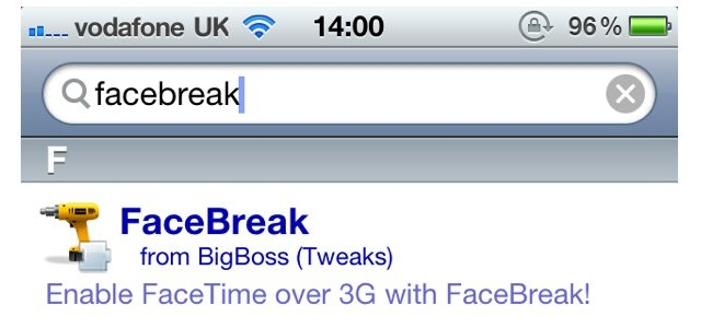 FaceBreak Updated - FaceTime Call Over 3G, On iOS 4.1