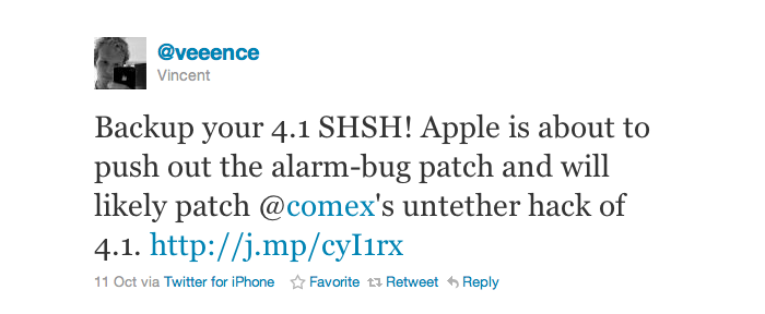 Rumor: Apple To Release iOS 4.1.1 - Backup iOS 4.1 SHSH Now!