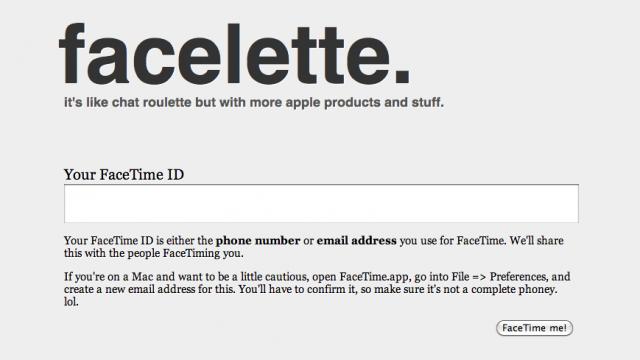 Facelette: FaceTime Calling With A Chatroulette Twist