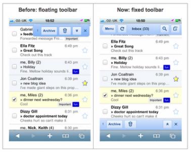 Google Improves Gmail Look In Mobile Safari