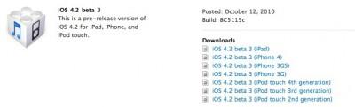 Apple Releases iOS 4.2 Beta 3