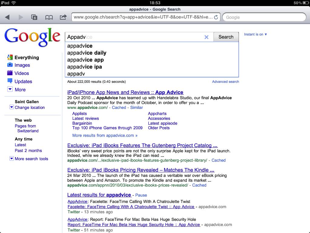Google Instant Hits The iPad?