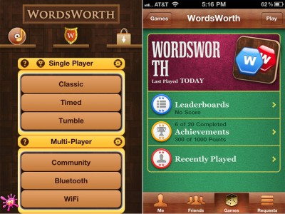 WordsWorth Now Has Game Center Support For Single Player Mode