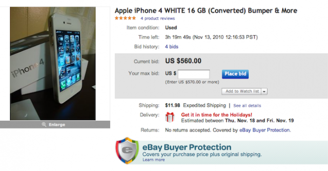 Apple Removing Fake White iPhone 4 Handsets From eBay?