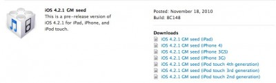 Apple Releases iOS 4.2.1 GM To Developers