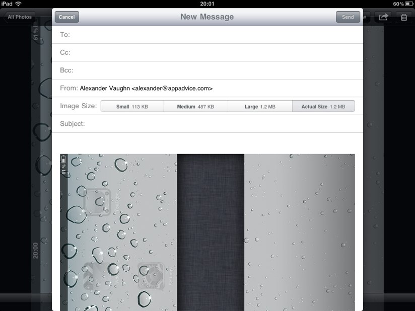 Found In iOS 4.2 For iPad: Control Image Sending Size