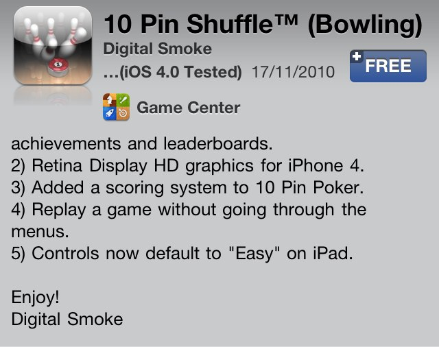 10 Pin Shuffle Updated: Adds Game Center And Retina-Optimization