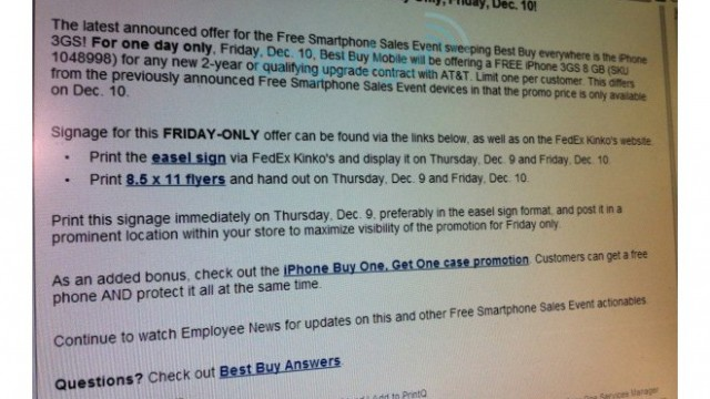Best Buy: iPhone 3GS Free On Contract Today - For One Day Only!