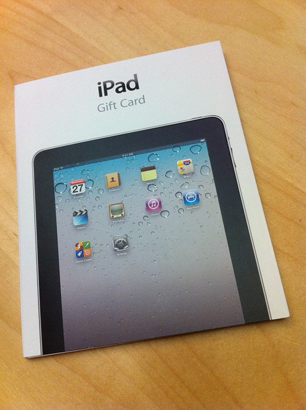 Apple Releases iPad Gift Cards