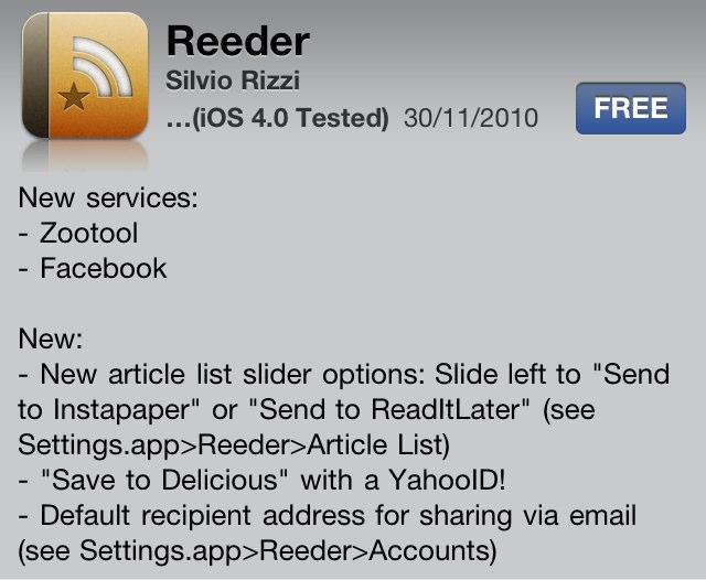 "Reeder Updated - Adds Facebook Integration And New ""Slider Options"""