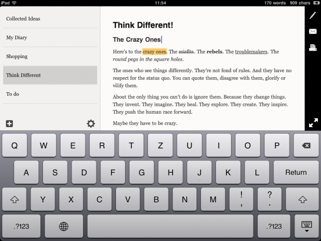 essay ipad text editor Ipad text editors: which one to choose by tris hussey — in life hacks 9 74 shares right, so we've picked dropbox as the place to store and sync your.