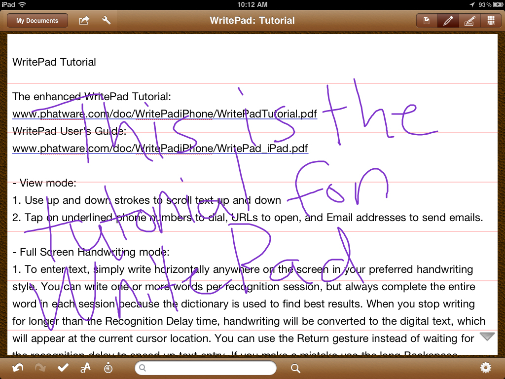 WritePad For iPad Now Features A Palm Rest Option - No More Hovering