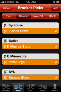PocketBracket: 2011 March College Basketball To... by Pure Concepts, LLC screenshot