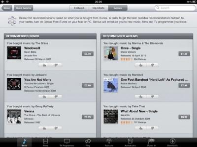 Mobile iTunes Store Gets Genius Recommendations
