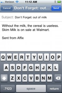 Affix Uses Prefixes To Quickly E-mail Tasks And Notes From Your iPhone