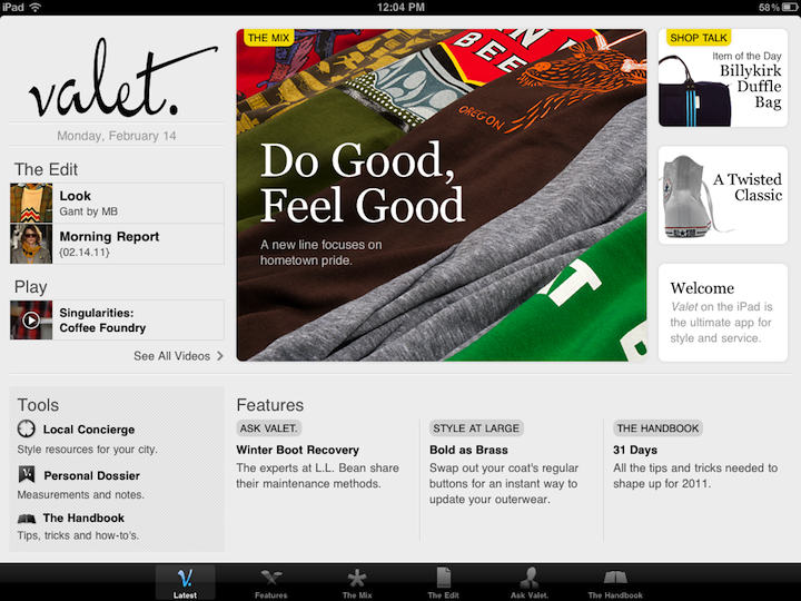The Valet Magazine App Brings Men's Fashion To The iPad