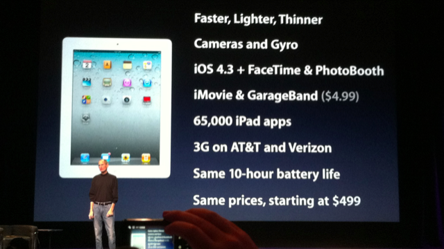 Apple Announces The Second Generation iPad