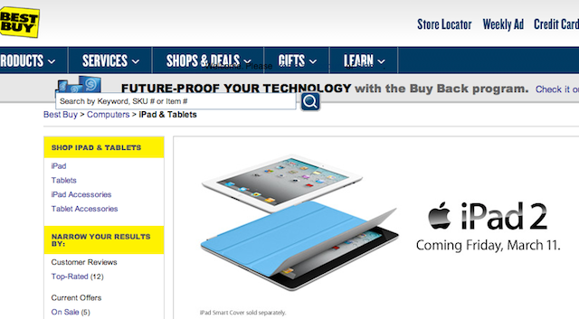 Best Buy, Sam's Club, Walmart To Sell iPad 2 At Launch