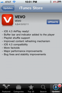 VEVO Updated, Adds Support For AirPlay In iOS 4.3