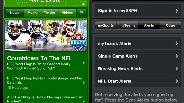 ESPN ScoreCenter Now Offers Breaking News Alerts And NFL Draft Coverage
