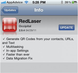 RedLaser Updated: Generate Your Own QR Codes - Also Adds Support For Multitasking