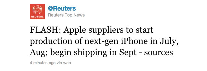 Reuters: iPhone 5 - Shipping From September