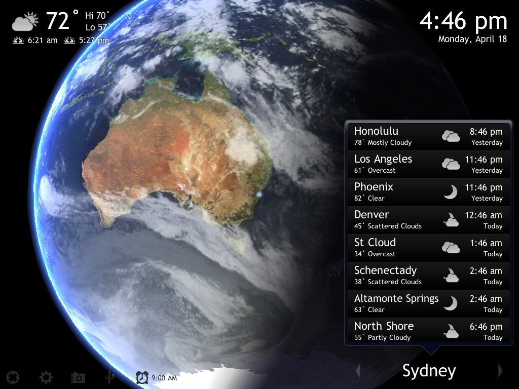 Living Earth HD v1.2 Adds Alarm Clock And Image Capture Functionality