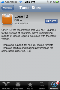 Lose It! says don't download its latest update