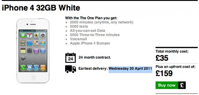 White iPhone 4 No Longer Available To Order Online From 3 UK: The Link Disappears