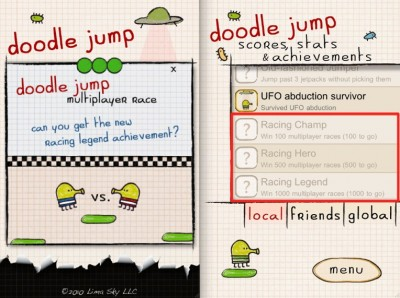 Doodle Jump Updated: Adds Three New Multiplayer Achievements