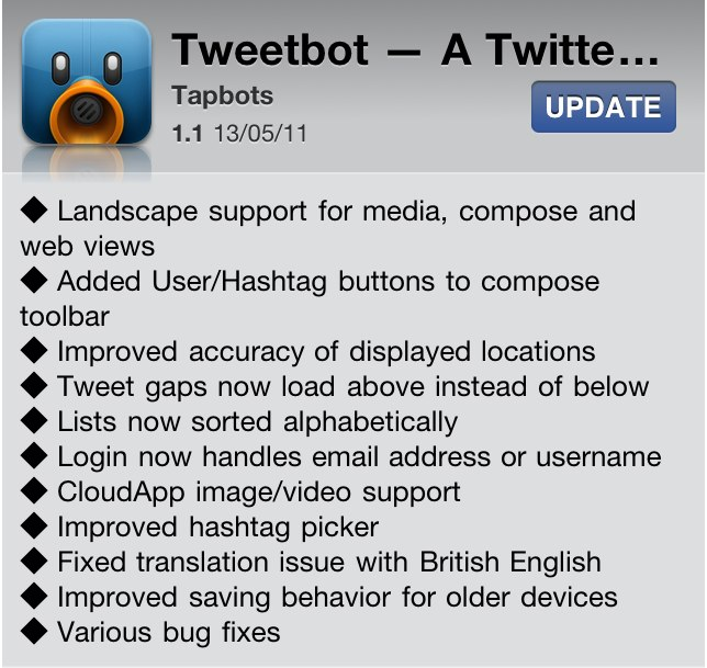 Tweetbot Updated: Adds Landscape Mode, Hashtag Button & Many More Features