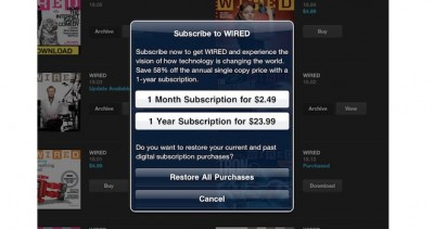Wired Magazine For iPad Updated: Now Supports In App Subscriptions