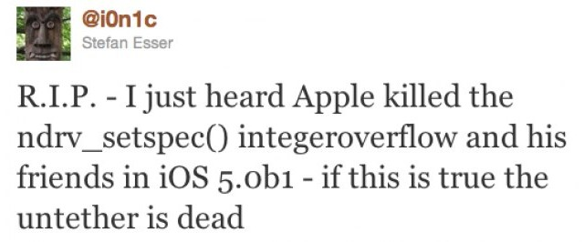 Current Untethered Jailbreak Solution Could Have Been Killed In iOS 5