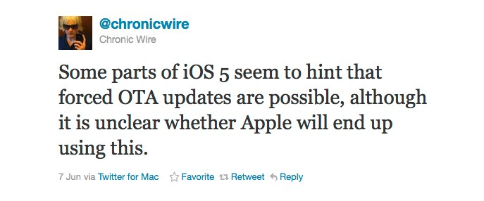 """Unconfirmed: """"Forced"""" Over-The-Air Software Updates Could Launch In iOS 5"""