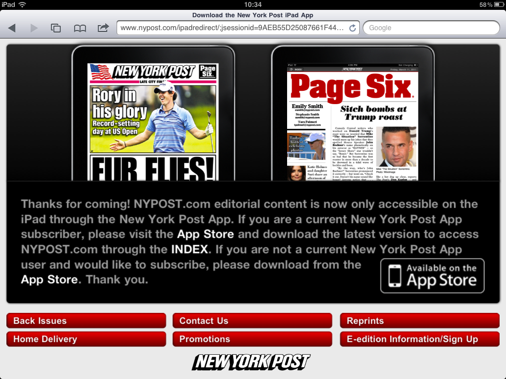 New York Post Now Blocking Access From Safari For iPad