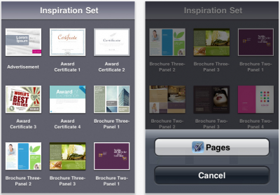 Inspiration Set For iOS - 55 Templates For Your Pages Documents