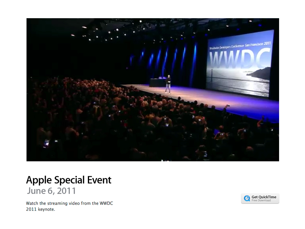 Apple Posts WWDC 2011 Keynote Video