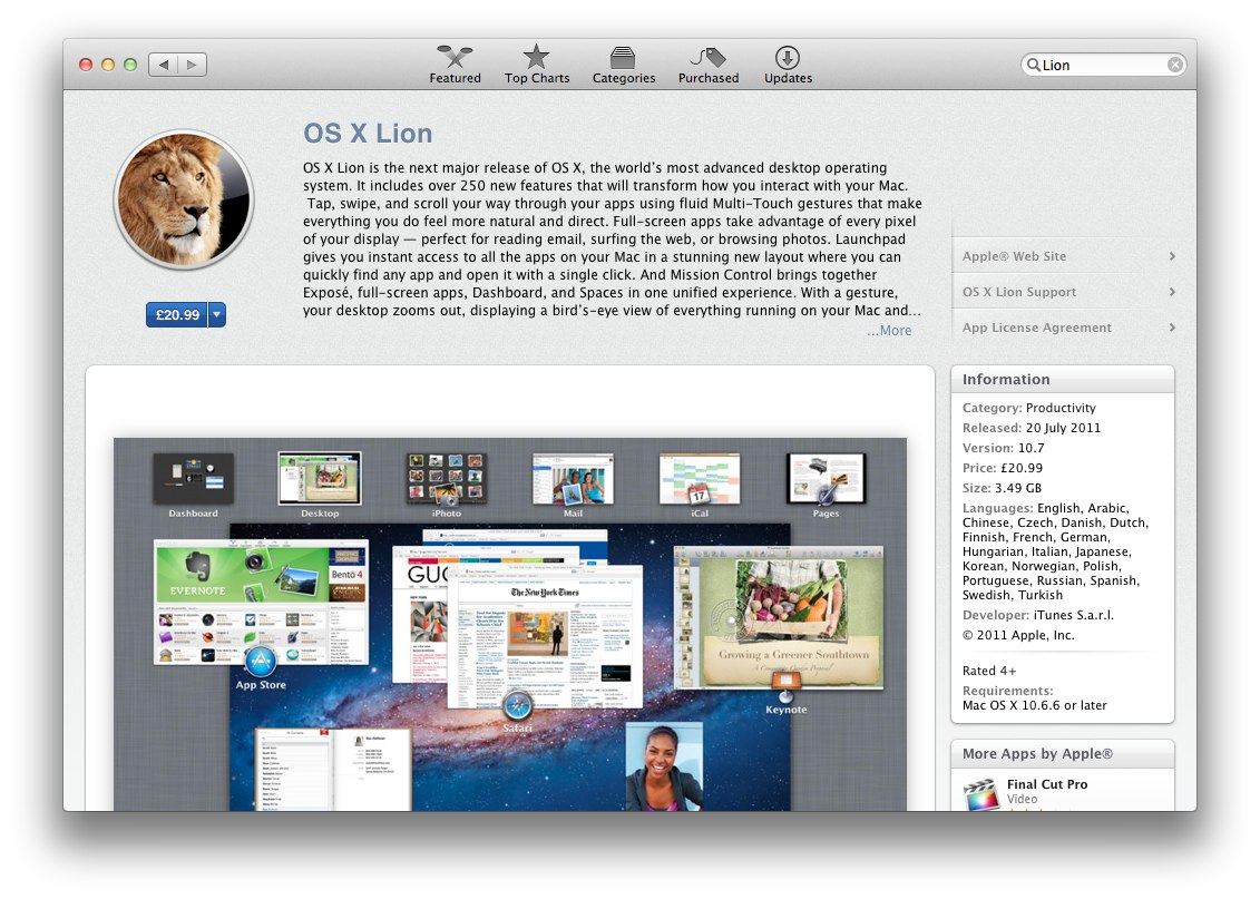 Apple Releases OS X Lion - Download It Now For $29.99