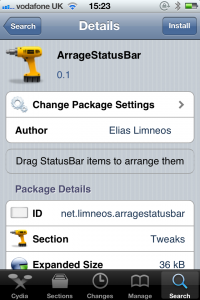 Jailbreak Only: ArrangeStatusBar - Take Control Of Your Status Bar