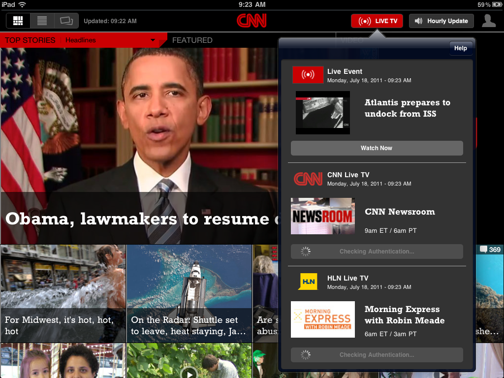 CNN, HLN Begin Real-Time Streaming Via Web, iPad