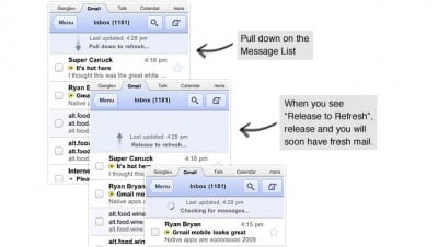 Gmail Mobile Web App Gets Updated: Adds Retina Display Support And Pull To Refresh