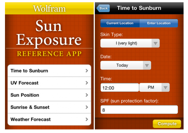 Wolfram Launches Sun Exposure Reference App