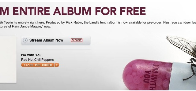 Apple Now Streaming Red Hot Chili Peppers' Upcoming Album In iTunes - First Sign Of More To Come?