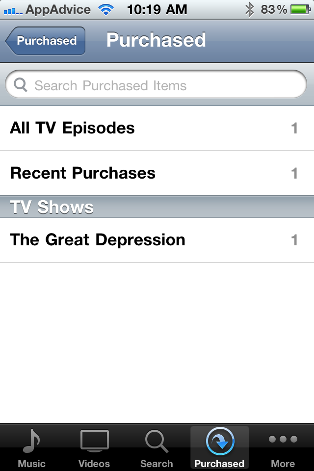 iOS & iTunes Purchased Tab Adds Support For TV Shows