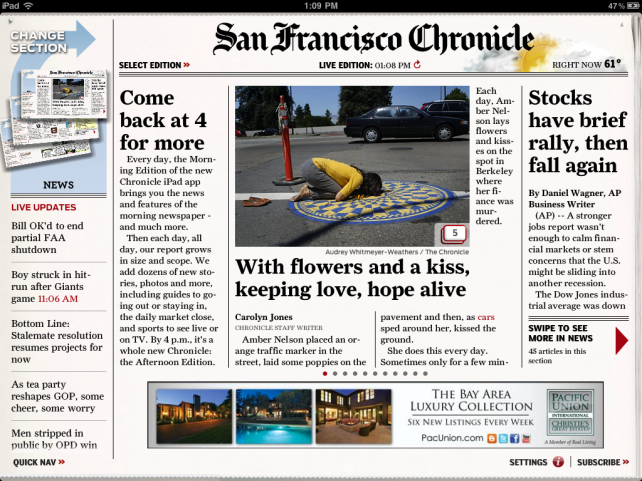 San Francisco Chronicle App For iPad Gets First Update