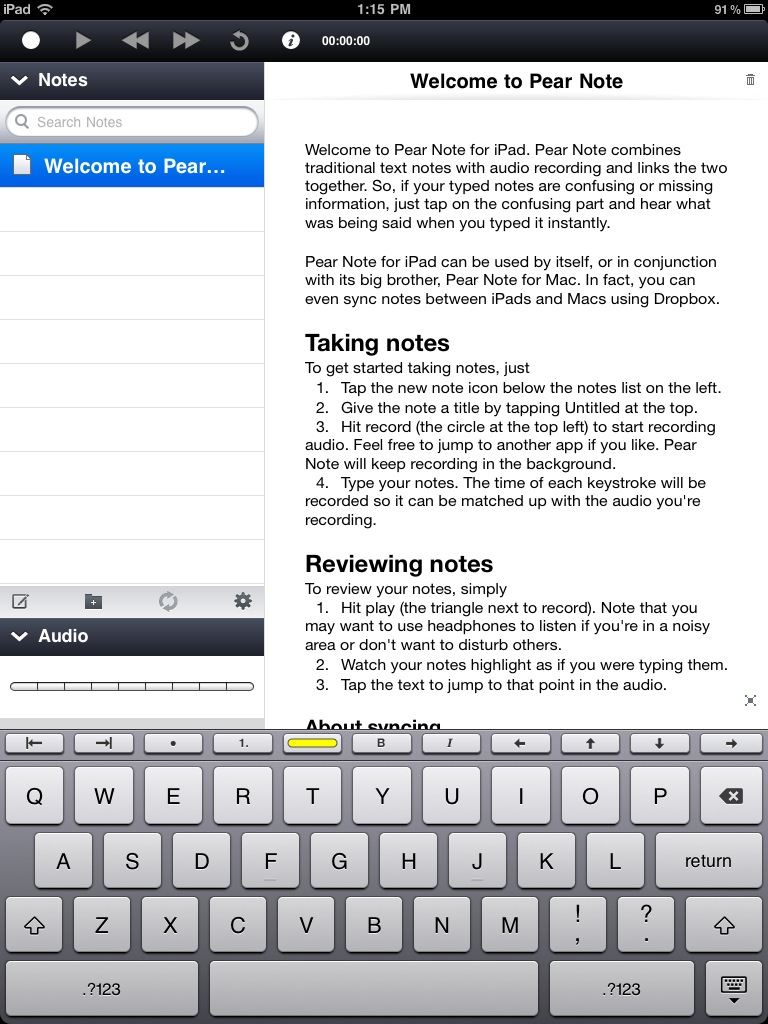 Pear Note Arrives On Your iPad