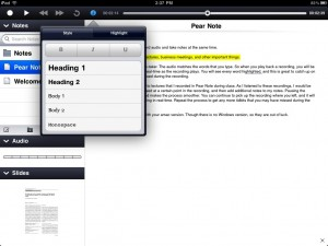 Pear Note by Useful Fruit Software screenshot