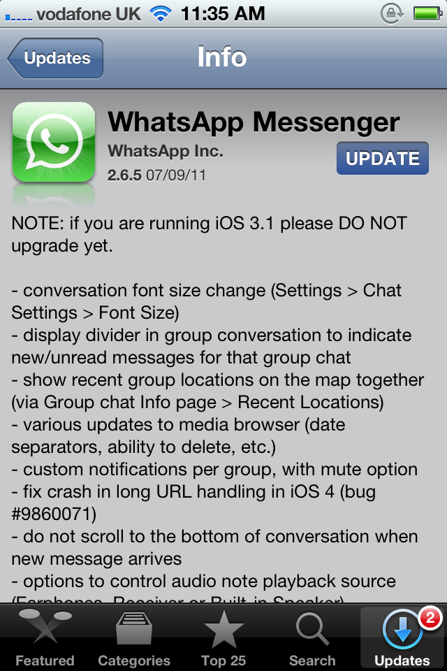 WhatsApp Messenger Updated - Adds New Features, Improvements And Bug Fixes