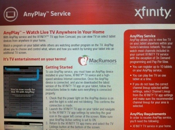 Comcast To Stream TV To Your iPad With AnyPlay