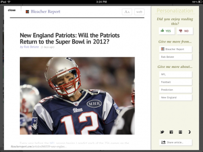 Zite Personalized Magazine Becomes NFL Central